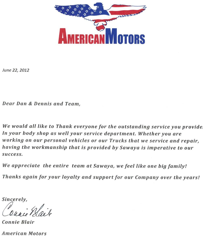 American Motors Testimonial Letter