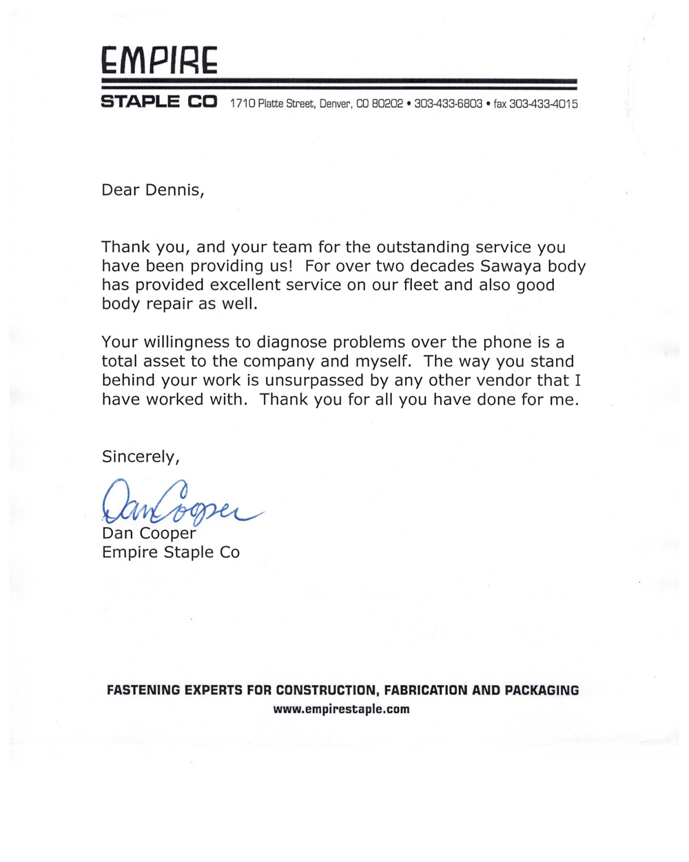Empire Staple Testimonial letter