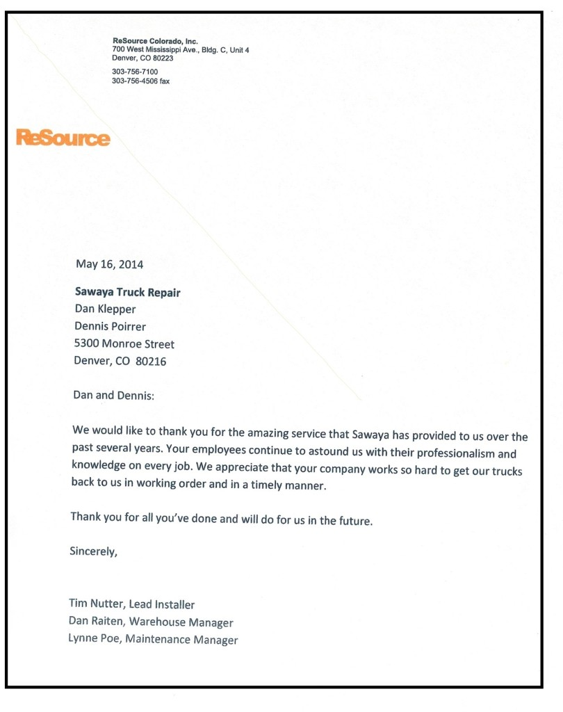 ReSource Colorado Testimonial Letter with boarder
