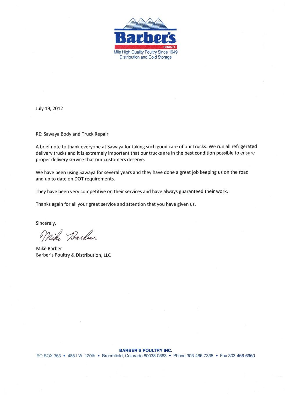 Barber''s Poultry Test Letter