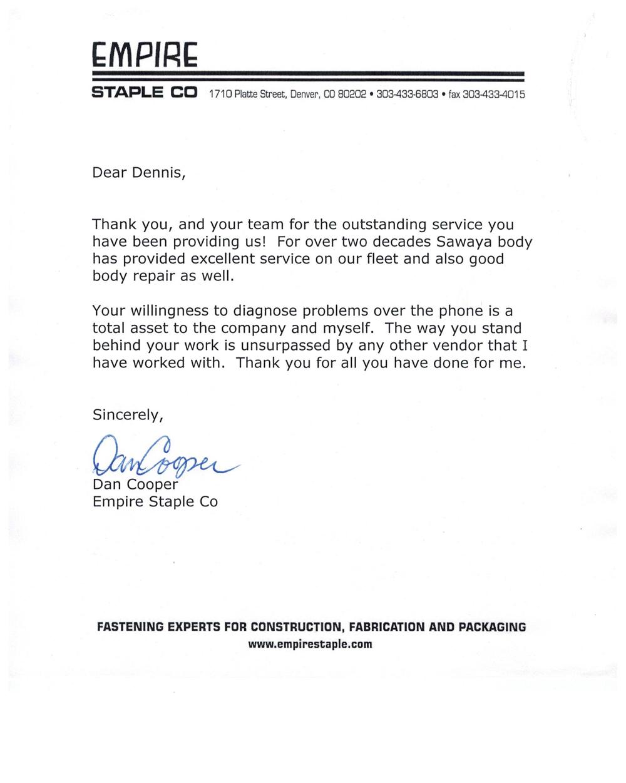 Empire Staple Testimonial letter