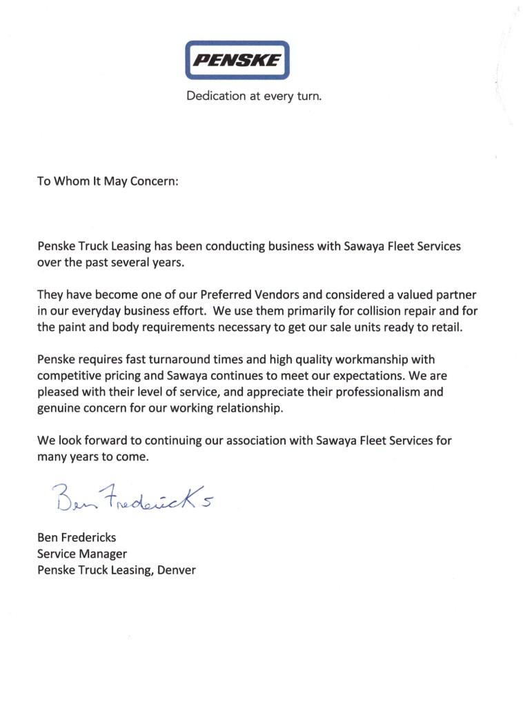 Penske Testimonial Letter