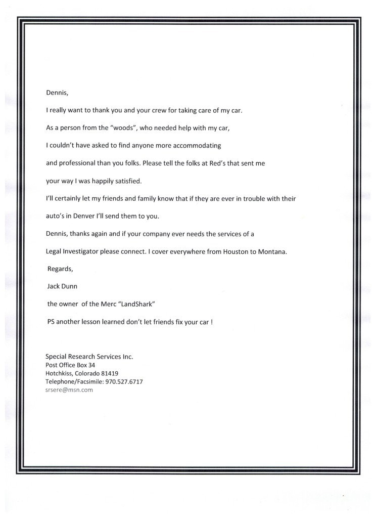 Special Research Services Testimonial Letter
